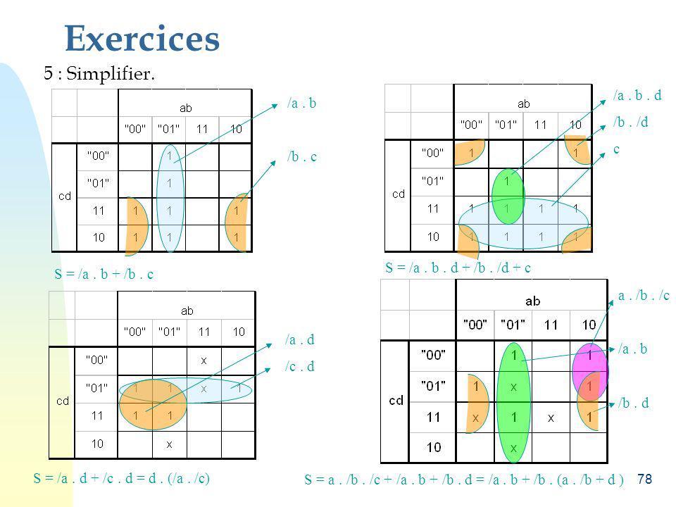 Exercices 5 : Simplifier. /a . b . d /a . b /b . /d c /b . c