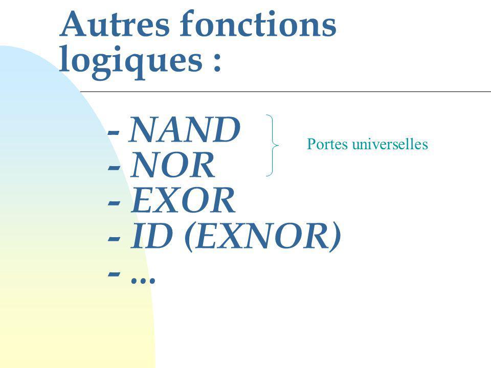 Autres fonctions logiques : - NAND - NOR - EXOR - ID (EXNOR) - ...