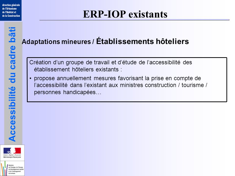ERP-IOP existants Adaptations mineures / Établissements hôteliers