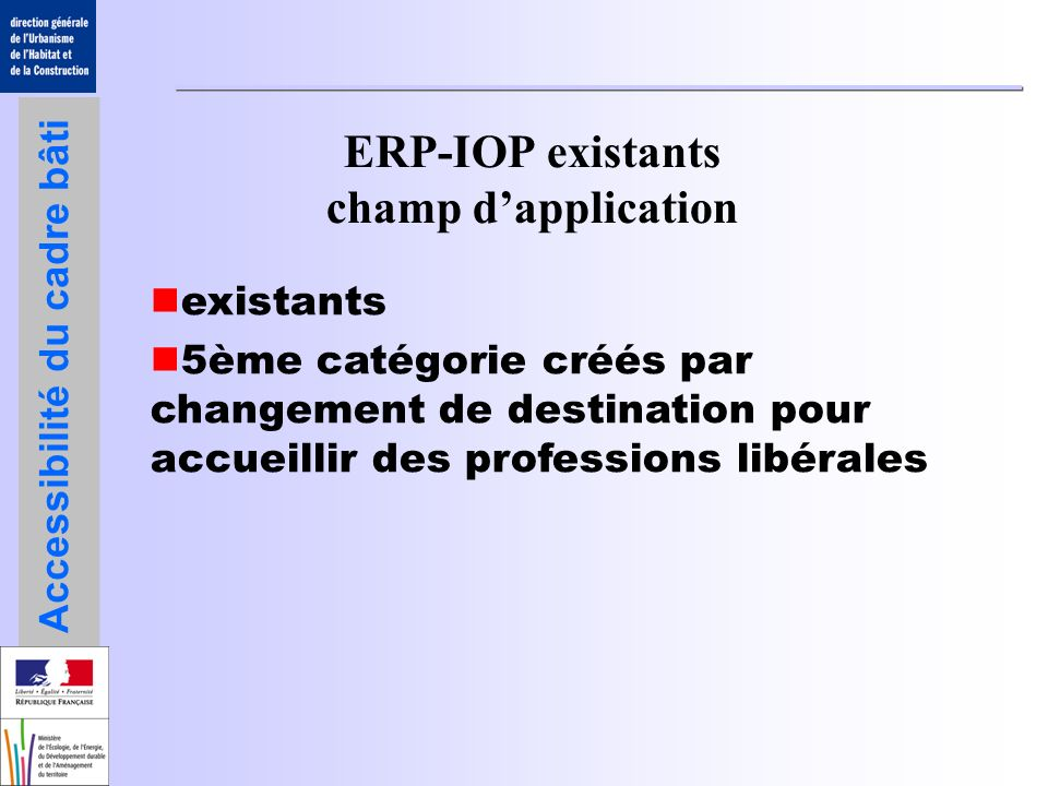 ERP-IOP existants champ d'application