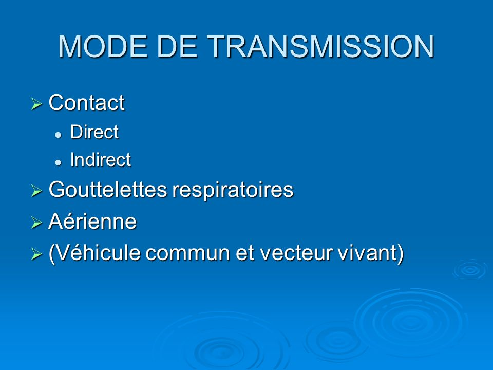 MODE DE TRANSMISSION Contact Gouttelettes respiratoires Aérienne