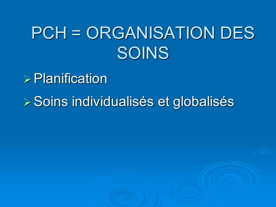 PCH = ORGANISATION DES SOINS