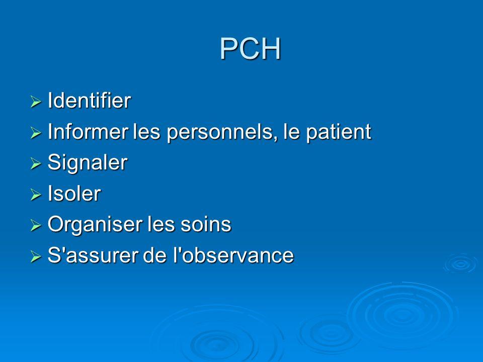 PCH Identifier Informer les personnels, le patient Signaler Isoler