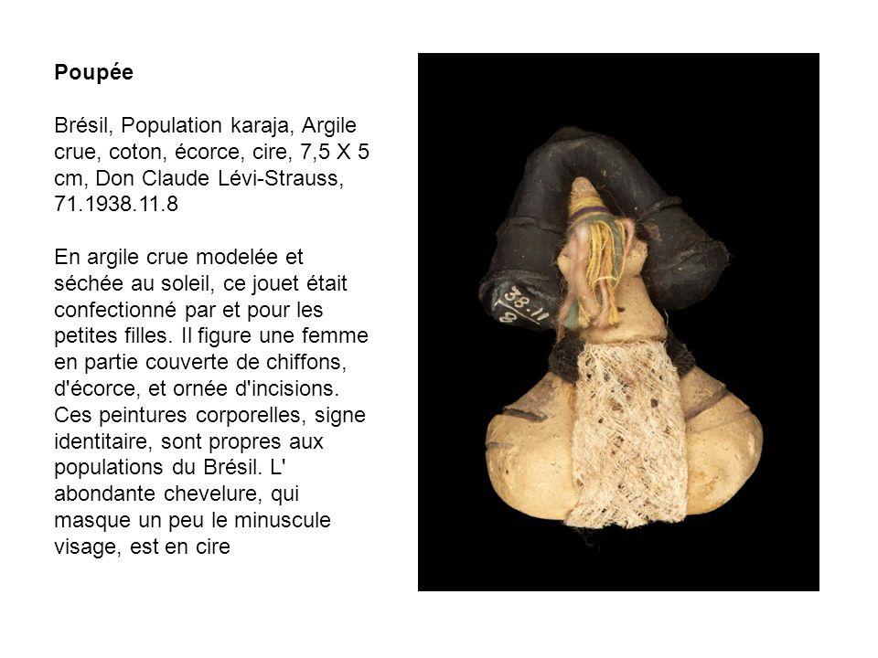 Poupée Brésil, Population karaja, Argile crue, coton, écorce, cire, 7,5 X 5 cm, Don Claude Lévi-Strauss, 71.1938.11.8.