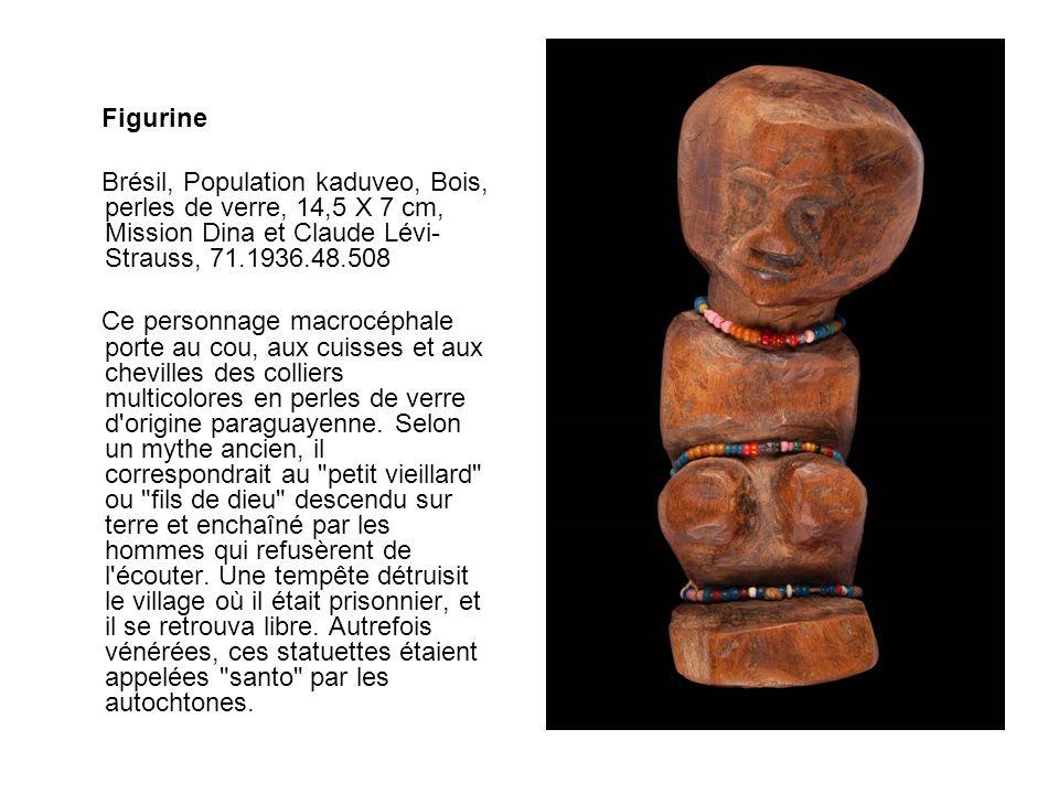 Figurine Brésil, Population kaduveo, Bois, perles de verre, 14,5 X 7 cm, Mission Dina et Claude Lévi-Strauss, 71.1936.48.508.