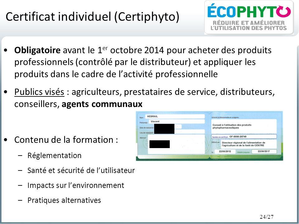 Certificat individuel (Certiphyto)