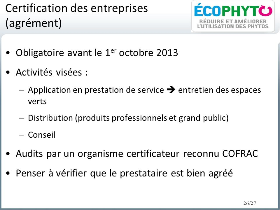 Certification des entreprises (agrément)