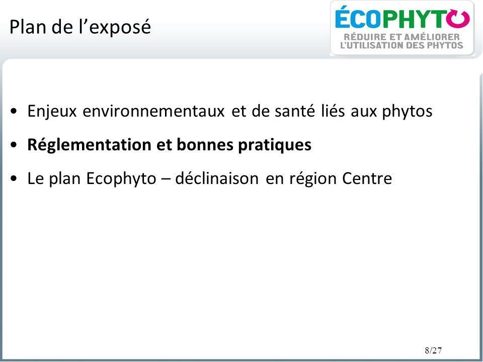 Plan de l'exposé Enjeux environnementaux et de santé liés aux phytos