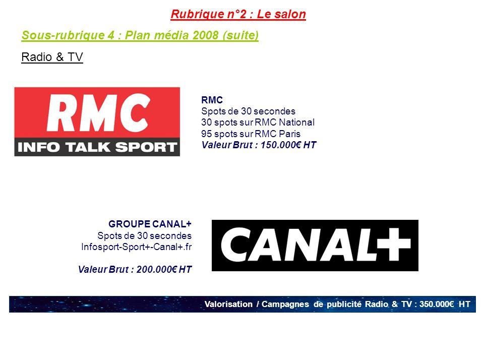 Sous-rubrique 4 : Plan média 2008 (suite) Radio & TV