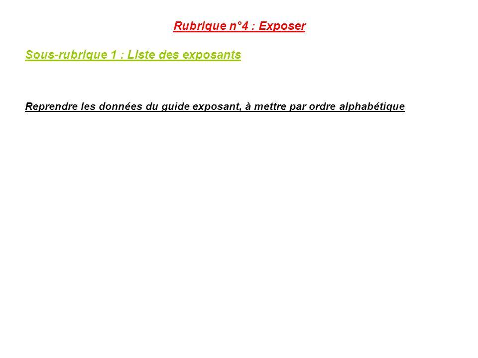 Sous-rubrique 1 : Liste des exposants