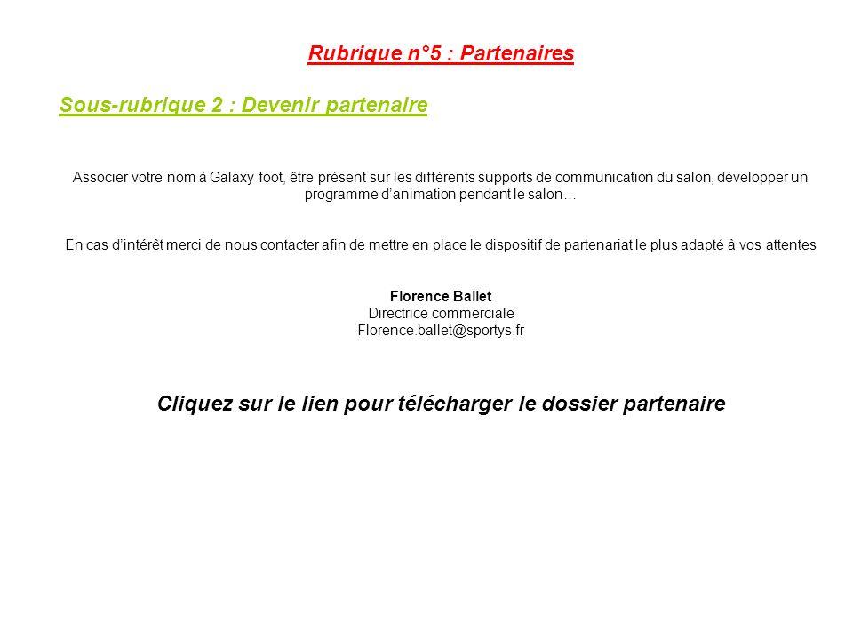 Rubrique n°5 : Partenaires