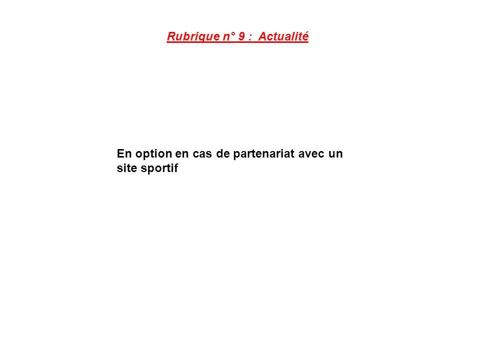 Rubrique n° 9 : Actualité