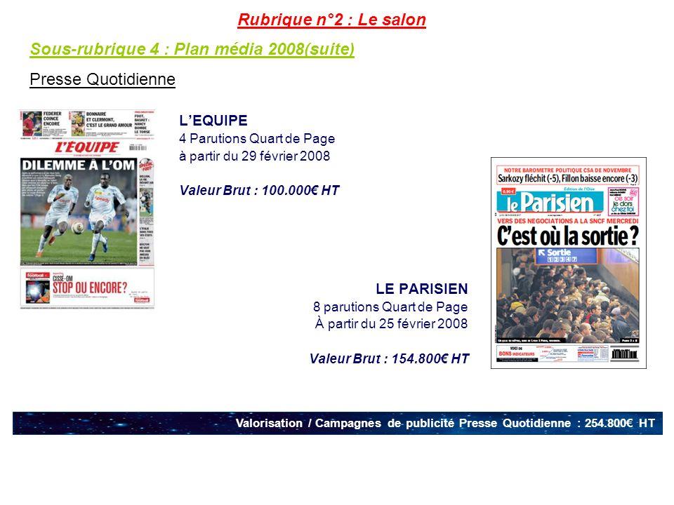 Sous-rubrique 4 : Plan média 2008(suite) Presse Quotidienne