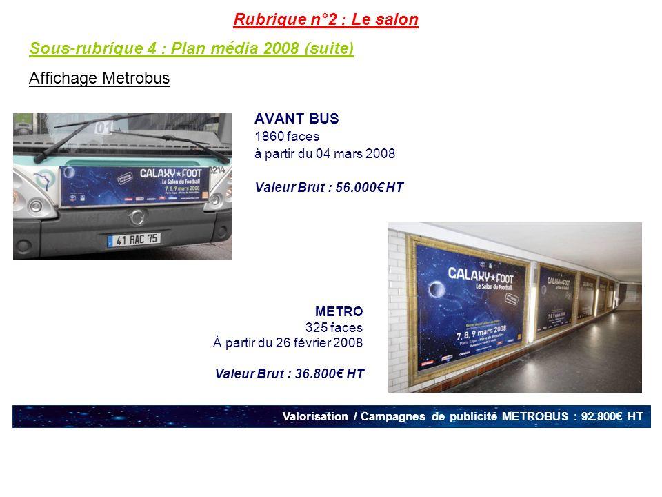Sous-rubrique 4 : Plan média 2008 (suite) Affichage Metrobus