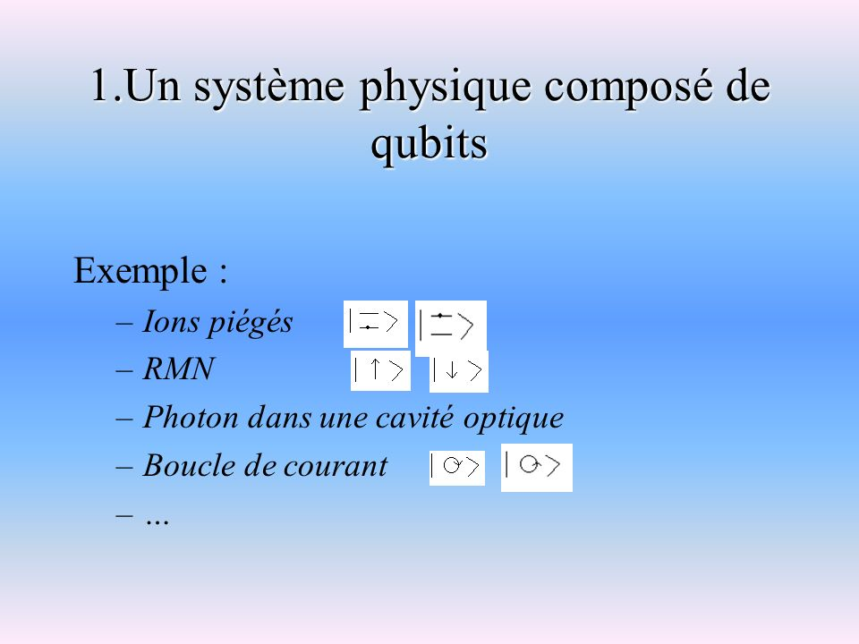 1.Un système physique composé de qubits