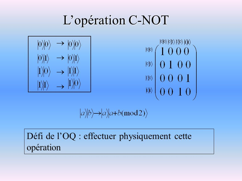 L'opération C-NOT  Défi de l'OQ : effectuer physiquement cette opération