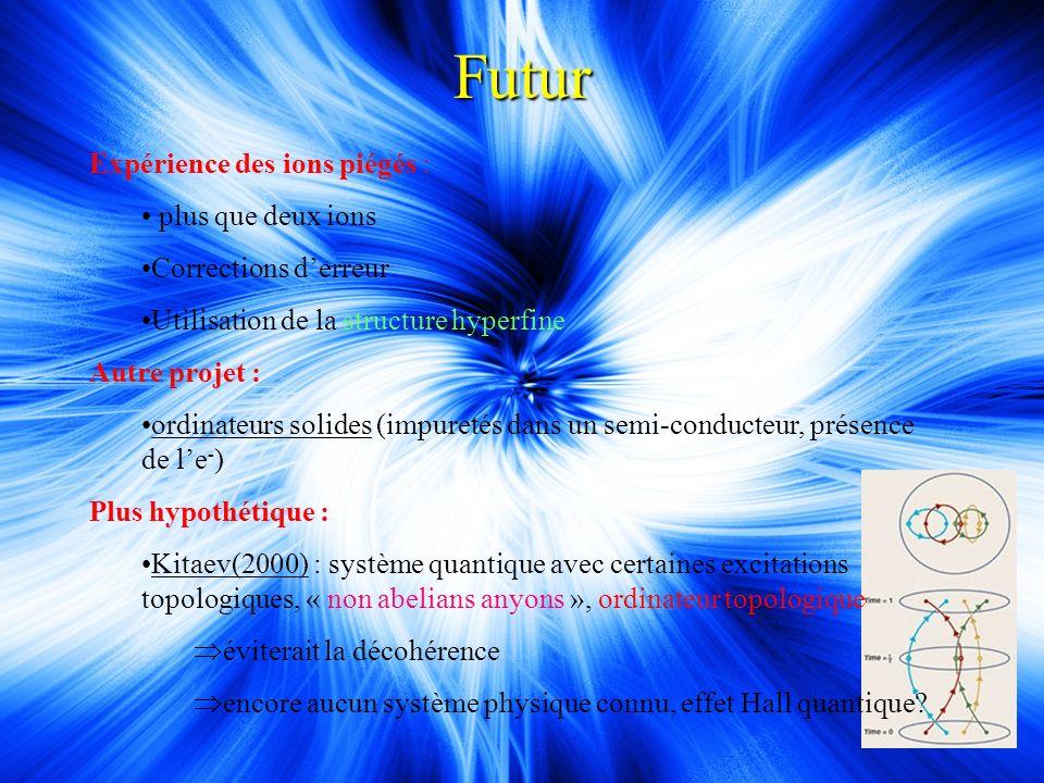 Futur Expérience des ions piégés : plus que deux ions