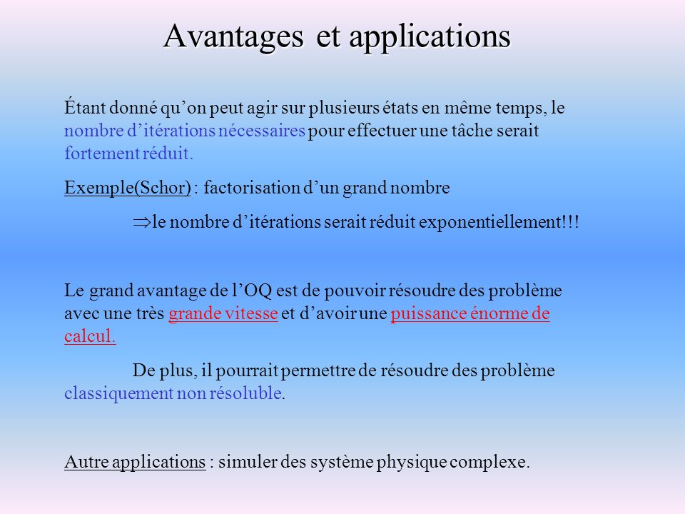 Avantages et applications