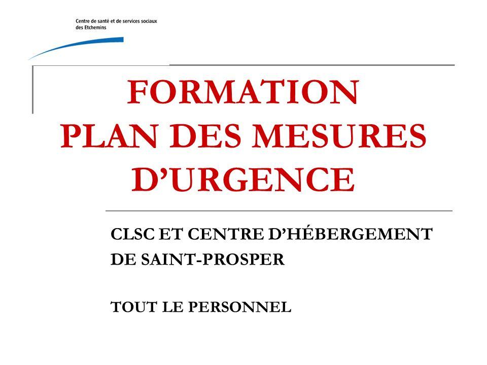 FORMATION PLAN DES MESURES D'URGENCE