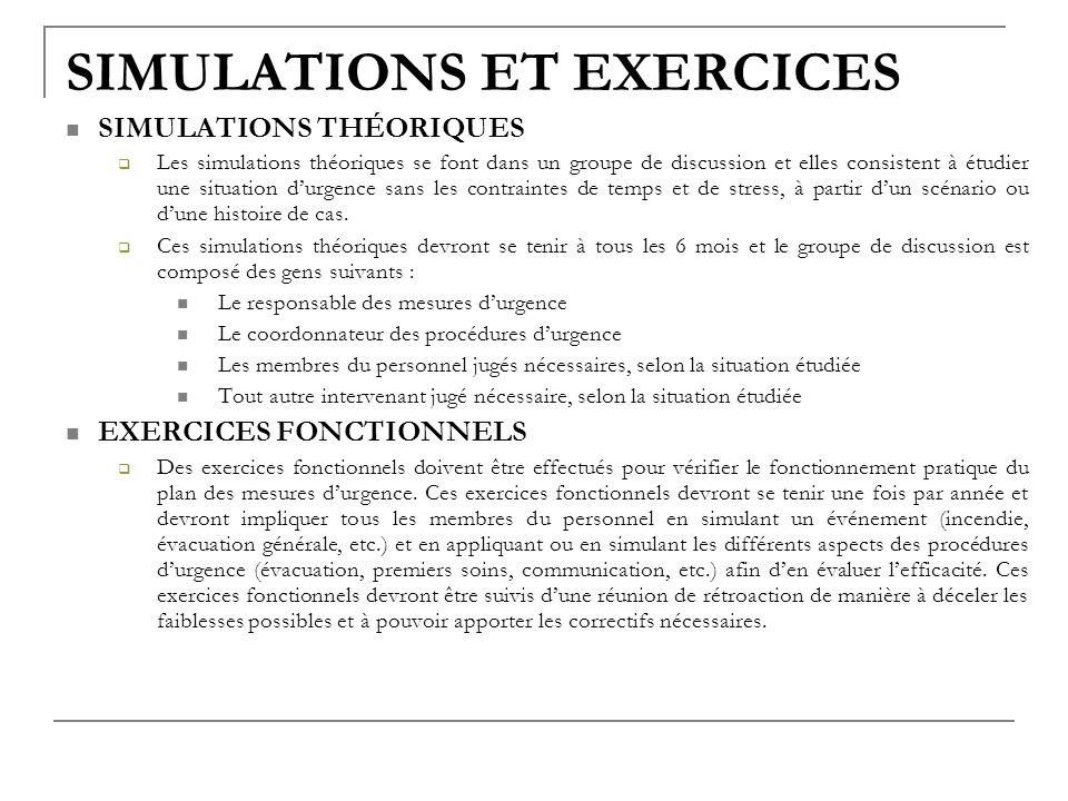 SIMULATIONS ET EXERCICES