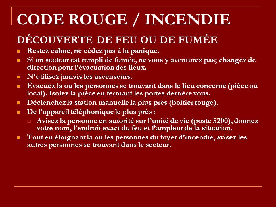 CODE ROUGE / INCENDIE DÉCOUVERTE DE FEU OU DE FUMÉE