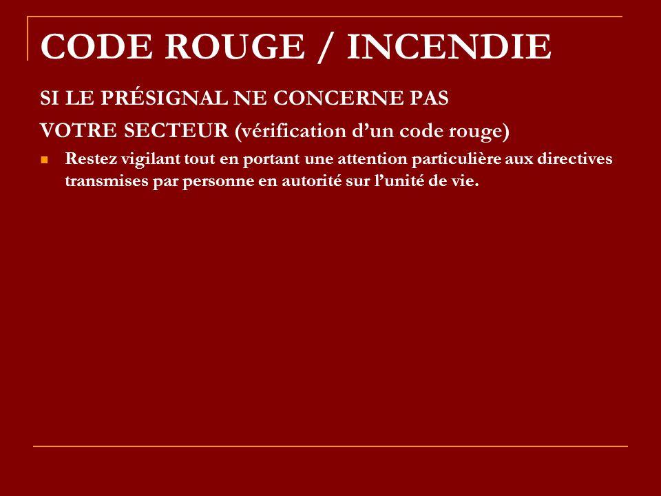 CODE ROUGE / INCENDIE SI LE PRÉSIGNAL NE CONCERNE PAS