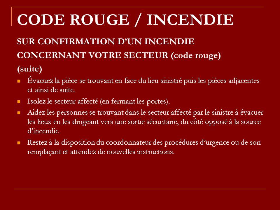 CODE ROUGE / INCENDIE SUR CONFIRMATION D'UN INCENDIE