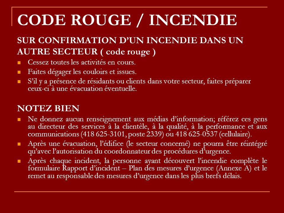 CODE ROUGE / INCENDIE SUR CONFIRMATION D'UN INCENDIE DANS UN