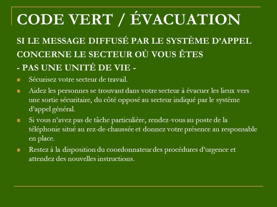 CODE VERT / ÉVACUATION SI LE MESSAGE DIFFUSÉ PAR LE SYSTÈME D'APPEL