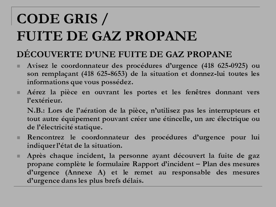 CODE GRIS / FUITE DE GAZ PROPANE