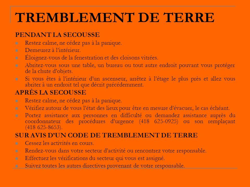 TREMBLEMENT DE TERRE PENDANT LA SECOUSSE APRÈS LA SECOUSSE