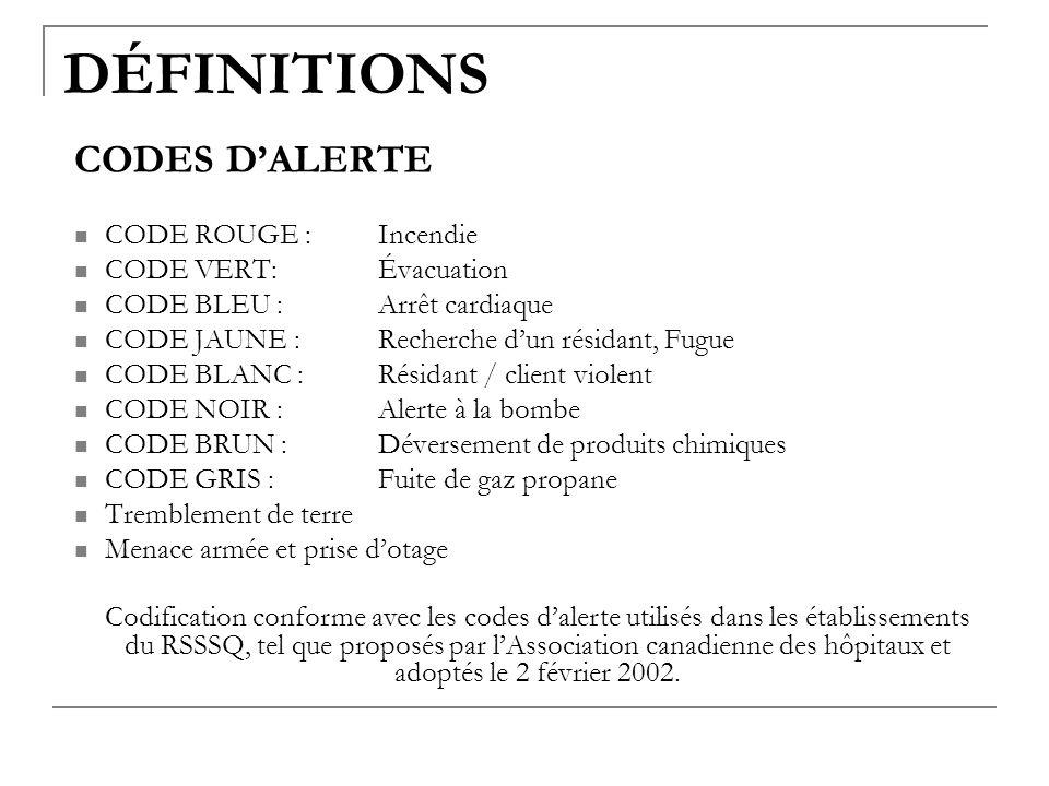 DÉFINITIONS CODES D'ALERTE CODE ROUGE : Incendie CODE VERT: Évacuation