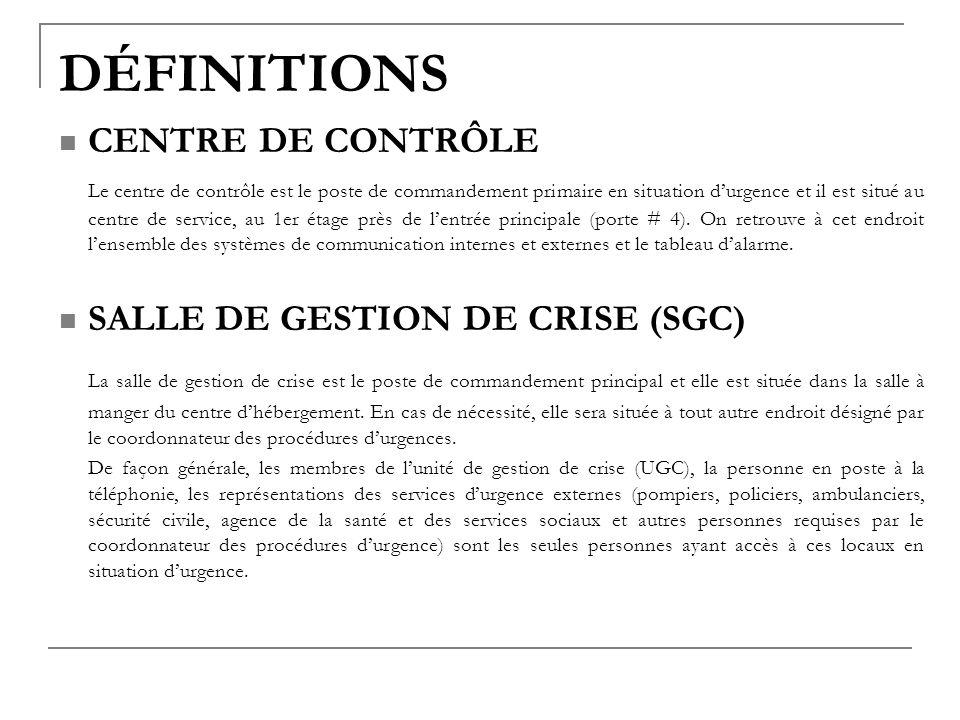 DÉFINITIONS CENTRE DE CONTRÔLE.