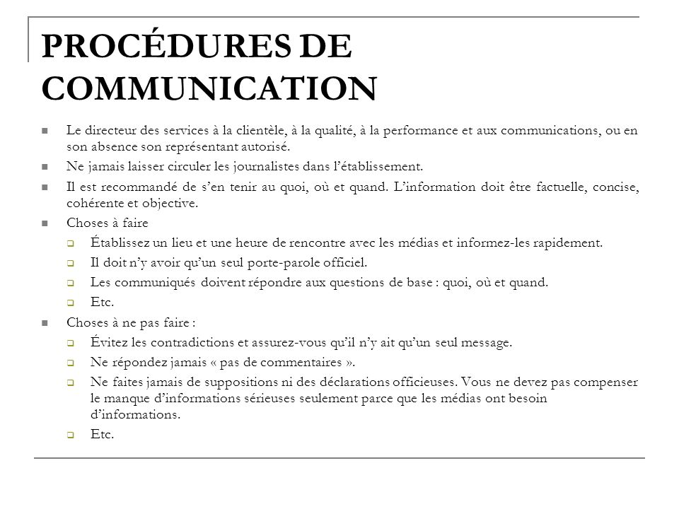 PROCÉDURES DE COMMUNICATION