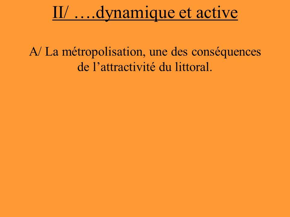 II/ ….dynamique et active A/ La métropolisation, une des conséquences de l'attractivité du littoral.