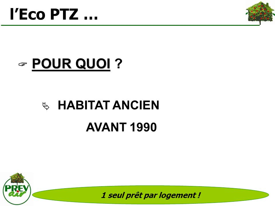 l'Eco PTZ … AVANT 1990  POUR QUOI  HABITAT ANCIEN