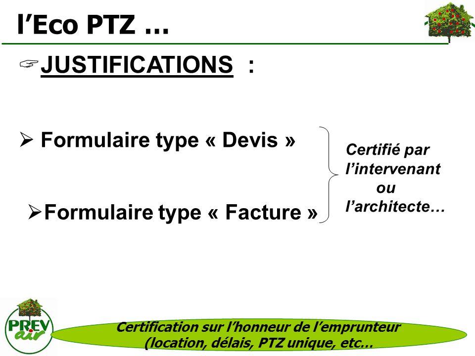 l'Eco PTZ … JUSTIFICATIONS :  Formulaire type « Devis »