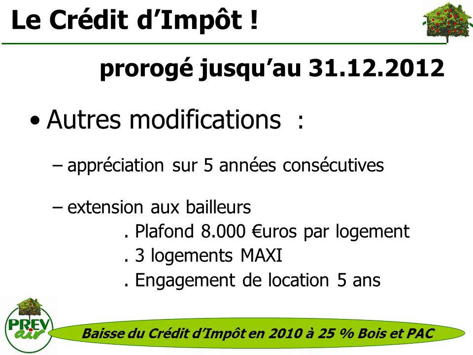 Baisse du Crédit d'Impôt en 2010 à 25 % Bois et PAC