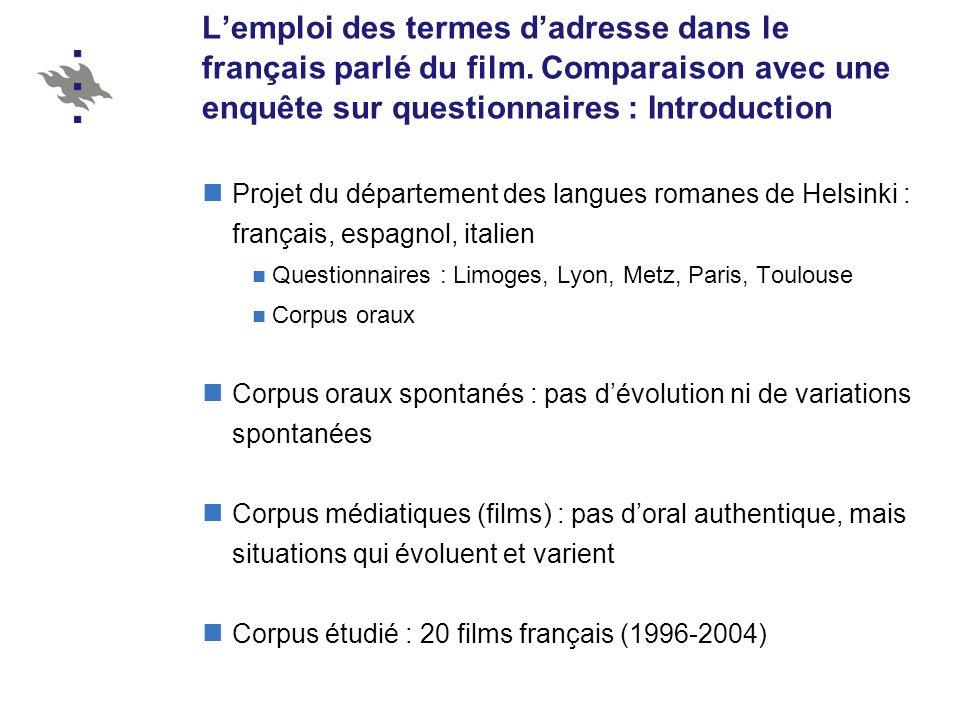L'emploi des termes d'adresse dans le français parlé du film