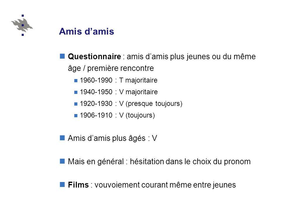 Amis d'amis Questionnaire : amis d'amis plus jeunes ou du même âge / première rencontre. 1960-1990 : T majoritaire.