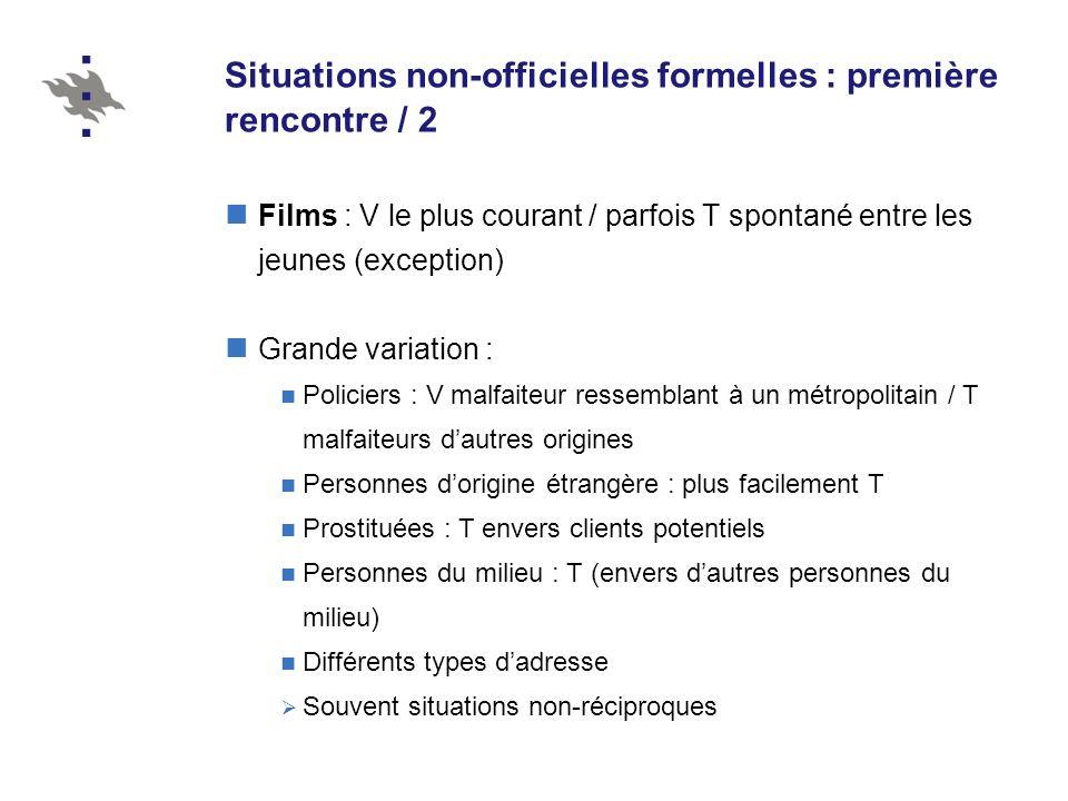 Situations non-officielles formelles : première rencontre / 2