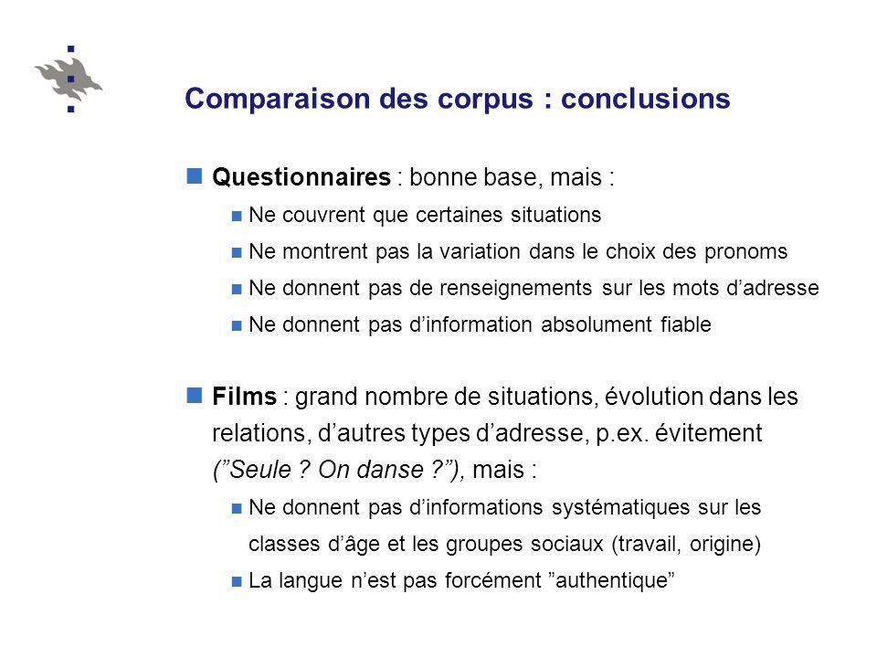 Comparaison des corpus : conclusions