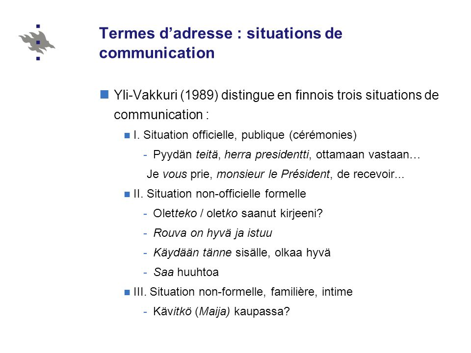 Termes d'adresse : situations de communication
