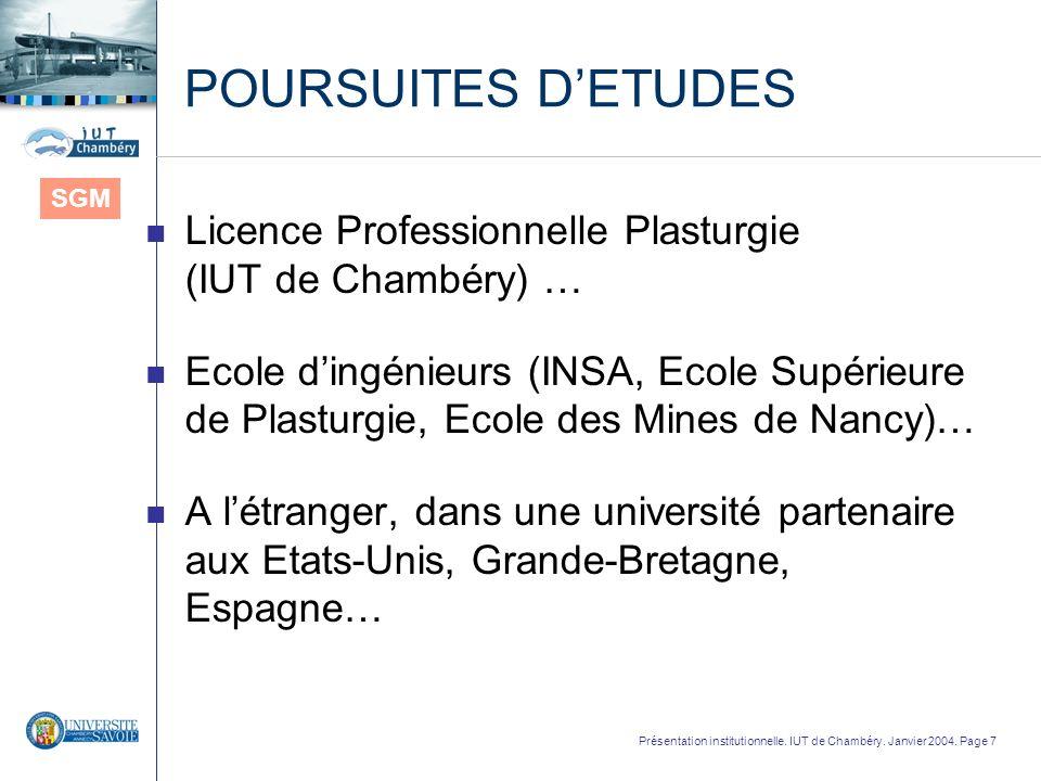 POURSUITES D'ETUDES SGM. Licence Professionnelle Plasturgie (IUT de Chambéry) …