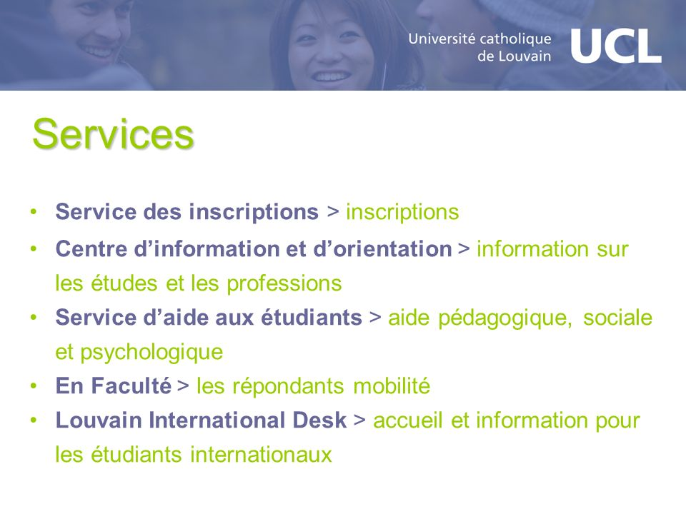 Services Service des inscriptions > inscriptions