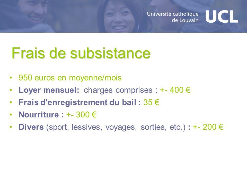 Frais de subsistance 950 euros en moyenne/mois