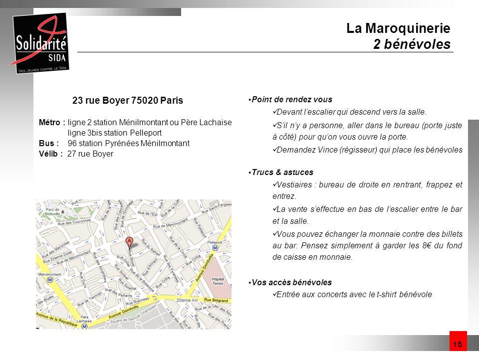 La Maroquinerie 2 bénévoles