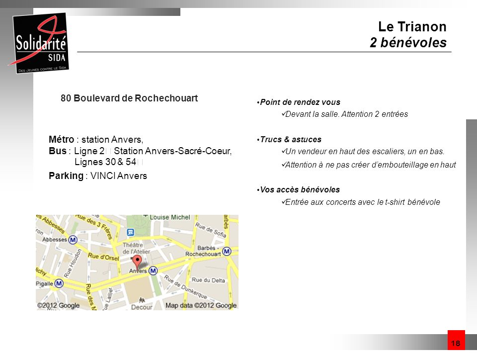 Le Trianon 2 bénévoles 80 Boulevard de Rochechouart