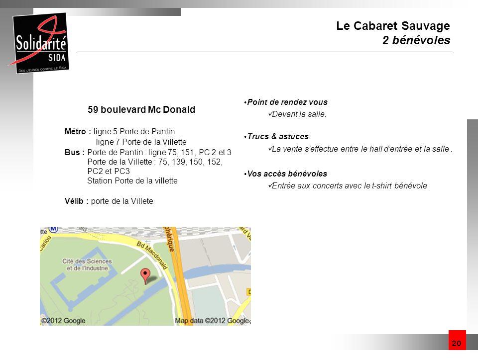 Le Cabaret Sauvage 2 bénévoles 59 boulevard Mc Donald