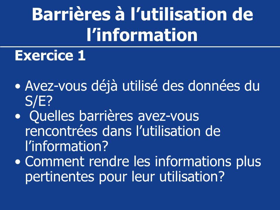 Barrières à l'utilisation de l'information